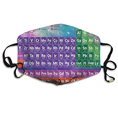 HUSDFS Mouth Maske Periodic Table Of Elements Unisex Face Mouth Mask Ear-loop Dust Protecting Mask Cycling Breathable Mask Loop Table