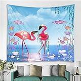 hhyyoo Wandbehang-Tapisserie des Nordischen Flamingotapisserie-Vogels Mit Blumenhauptdekorations-Badetuchyogamatten-Picknickdecken-Tischdecke 200 * 150Cm