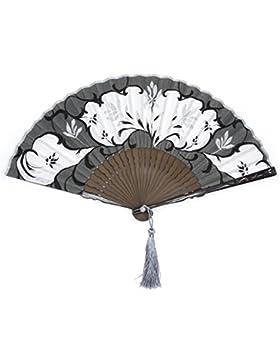 bambú abanico japonés y el algodón. de color negro, gris, plata y blanco. 21cm.