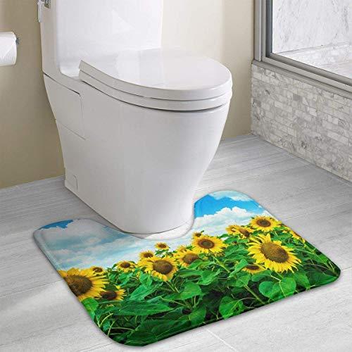 Vidmkeo Sunflower Under Blue Cloudy Sky Contour Bath Rug, U-Shaped Polyester Toilet Floor Mat Non Slip Bathroom Shower Carpet -