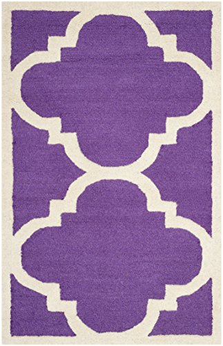 Safavieh Clark handgetufteter Teppich, CAM140K, Lila / Elfenbein, 91 X 152  cm (Safavieh-teppiche Lila)
