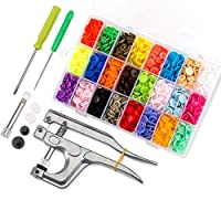 460 Sets T5 Fasteners Snap Button + Popper Studs Snap Plier Kit Sewing Tools for All Kinds Clothes (24 Colors, Plier for T3, T5, T8)