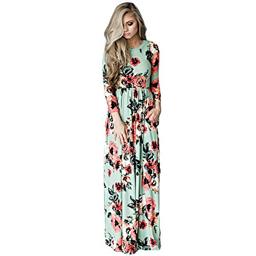 Sommerkleider Vintage Boho Maxikleid Beiläufiges Strandkleid Blumenkleid Abendkleid Floralen Druck...