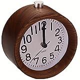 """Jinberry 4"""" Retro Reloj Despertadorrr Silenciosos de Madera Hecho a Mano / Vintage Alarma de Mesa con Luz, Función Snooze y Sonido Gradual (Nogal Negro)"""