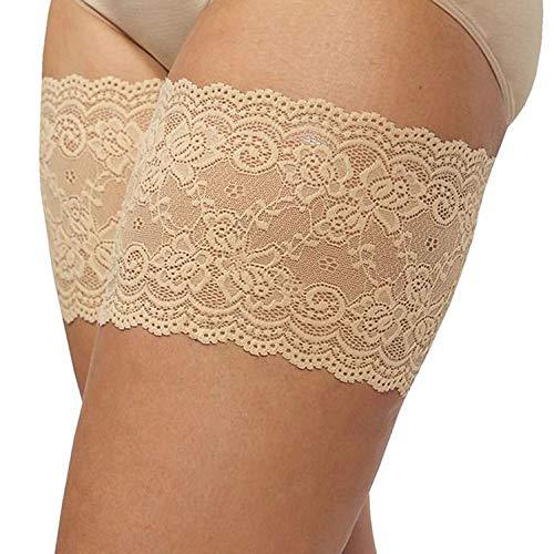 BARBARA Oberschenkelschoner   Anti Chafing Oberschenkelbänder Schutz   Hochwertige Lace Sexy Spitzen Bänder   Farbe: Beige Größe: 52