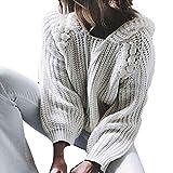 MEIbax Damen mit Kapuze Perlen Long Sleeve Strickpullover Sweatshirt Jumper Strickwaren Grobstrick Hoodie