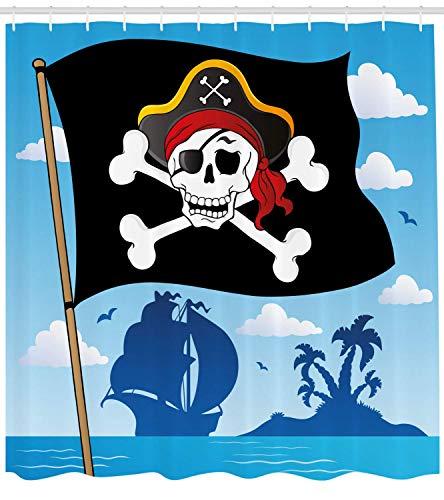 Nyngei Piraten-Duschvorhang-Warnschild Vorsicht vor Piraten-Schädel mit Hut-Flagge Deserted Island im hinteren Stoff-Badezimmer-Dekorset mit180 cm, blau, schwarz, weiß