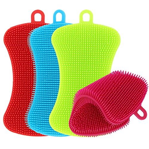 TIMGOU - Esponja de silicona para cocina, 4 unidades, antibacteriana, para fregadero, multiusos, lavavajillas, lavado de platos, sin moho, para verduras, botellas de bebé