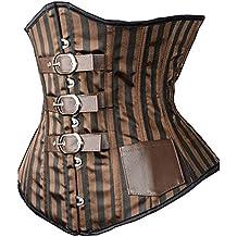 Camellias Damen Leder Korsett Unterbrust mit Stahlstäbchen und G-Schnur - Streifenmuster - Retro Gothic Steampunk Stahl Knochen Corsage