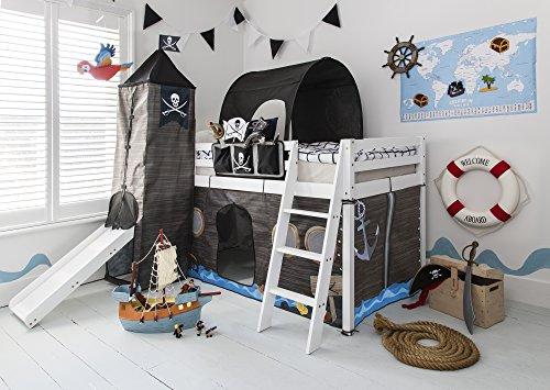 Hochbett Mit Zelt (Hochbett mit Rutsche Midsleeper Kids Pirat Hideaway mit Zelt, Tunnel, Turm & Tidy Noa & Nani weiß)
