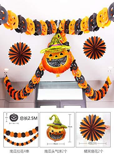 jhsajddaa Halloween Spinnennetz Blume Schmuck Flagge Zugstab Dekoration Requisiten Laternen Lustige Geschenke Hängen Kürbis-Latte 4 + 2 + 1 Fan Ballons