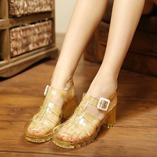 Sommer Damen Mode Sandalen komfortable High Heels, 36 Gold Gold