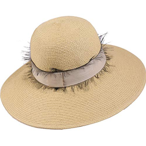 Ying xinguang Hut Frauen Sommer Visor Band Bali Daxie Strohhut Strand Hut zusammenklappbar (Color : Natural, Size : M)