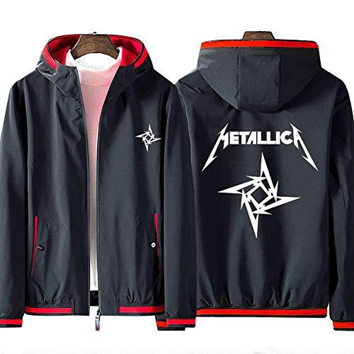 Cool Man Männer Full Zip Hoodie Metallica Uniform Pullover Teen Fashion Langarm bequeme Sport-Sweatshirt Unisex Jacke (kein Hemd) Geburtstags-Geschenk ( Color : Black-red , Size : 4XL(180-195cm) )