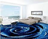 DDBBhome 3D Stereoskopische Tapete Boden Selbst, Selbstklebende Boden Tapete 3D Für Badezimmer PVC Wasserdicht Blauen Rosenboden, 200X100Cm