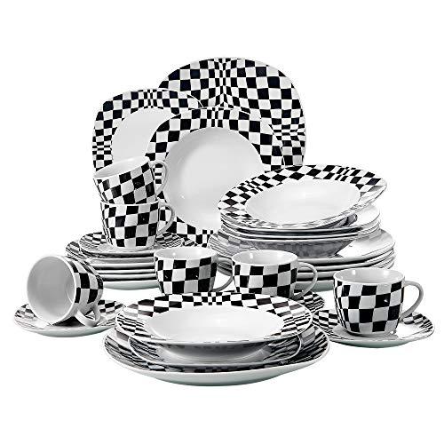 Veweet LOUISE 30pcs Service de Table Porcelaine 6pcs Assiette Plate/Assiette à Dessert/Assiette Creuse/Tasse avec Soucoupes pour 6 Personnes Vaisselles Céramique Design Carreaux Noir