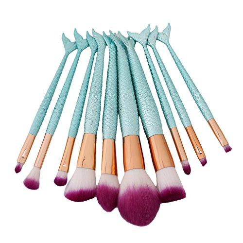 HENGSONG 10pcs Brosse de Maquillage de Brosse Poudre Contour Blush Correcteur Fondation Pinceaux Sirène Cosmétique Brosse Set Outils (Bleu clair)