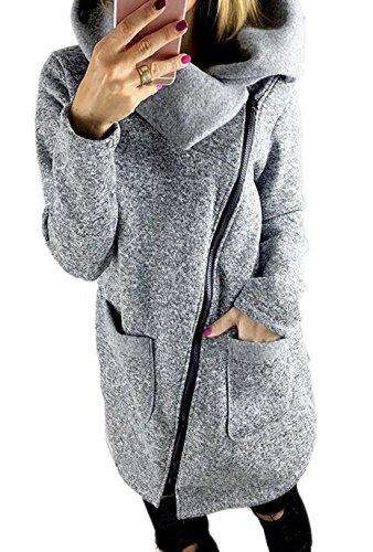Eforyou Damen Winter Mäntel Jacken Lang Please Trenchcoat Mit Reißverschluss Übergroße Größe Grau