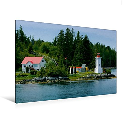 Premium Textil-Leinwand 120 cm x 80 cm quer, Lighthouse am Fisher Channel | Wandbild, Bild auf Keilrahmen, Fertigbild auf echter Leinwand, Leinwanddruck: Kanadas Inside Passage (CALVENDO - Nach Kanada Schiff