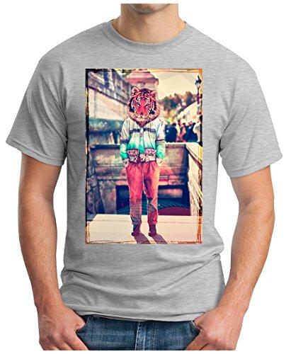 OM3 - HIPSTER-TIGER - T-Shirt GEEK, S - 5XL Grau Meliert