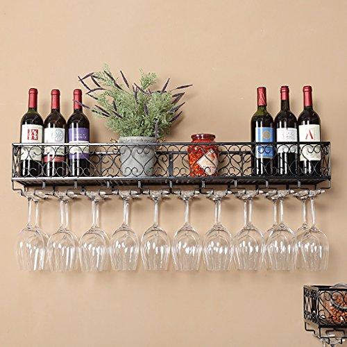 SHJICH Multifunction Wall Iron Wine Shelf decoration Antioxidant shelf for Bars restaurants kitchens (Size: 80 * 25cm)