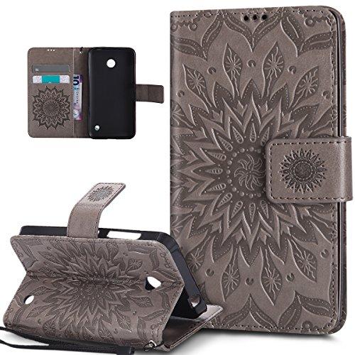 Kompatibel mit Schutzhülle Nokia Lumia 630/635 Hülle Handyhülle Tasche Case,Prägung Mandala Blumen Sonnenblume PU Lederhülle Flip Hülle Cover Ständer Etui Wallet Tasche Case Schutzhülle,Grau