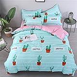 DOTBUY Bettbezug Set, 3 Stück Super Weiche und Angenehme Mikrofaser Einfache Bettwäsche Set Gemütlich Enthalten Bettbezug & Kissenbezug Betten Schlafzimmer (135x200cm, Kaktus)