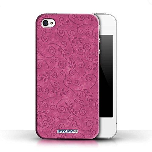 KOBALT® Hülle Case für Apple iPhone 4/4S | Orange Entwurf | Vine Blumenmuster Kollektion Rosa