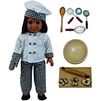 Doll Clothes Outfit and 11 Pc Kitchen Tool & Baking Set Accessories Fits 18 inch American Girl! Complete Clothing Set & Shoes, Bowl, 5 piece Utensil Set, 3 Cookies Cutters, Wooden Board & Rolling Pin by The Queen's Treasures