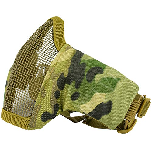 QMFIVE Tactical plegable ajustable y correa de cinturón elástico de malla protectora mascara mascara de media cara para Airsoft Paintball CS(Multicam)
