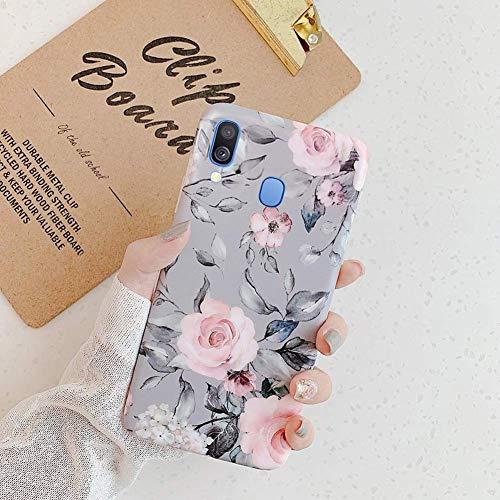 Herbests Kompatibel mit Huawei P30 Hülle Silikon Handyhülle Mode Blätter Blumen Muster Ultra dünn Weich TPU Silikon Mode Tasche Schutzhülle Bumper Kratzfeste Hülle,Grau Blume -
