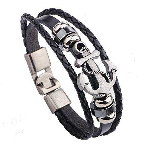 Wjkuku Bijoux Mode Pirate Icône Bracelet Bracelet manchette en acier inoxydable Chaîne Cuir Argent Noir