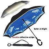 V.one Parapluie Inversé Autoportant à Double Couche Avec Voiture De Sécurité à Double Bande Réfléchissante Parapluie Pliant Lnversé Pour Les Hommes Et Les Femmes - Coupe-Vent Lmperméable Auto...