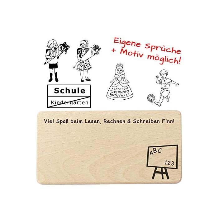 Schulanfang Frühstücksbrett Personalisiert mit Name, Spruch, Motiv - Geschenk zur Einschulung für ABC Schützen, Erstklässler, Vorschulkinder 1