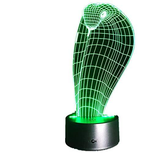 Einhorn Ziege 3D Schlange LED Lampe USB Einhorn Lichter Stimmung Gradienten 7 Farben Ändern Drachen Schreibtisch Nachtnachtlicht Wohnkultur Kinder geschenk Cobra Eine Größe - Cobra Usb-maus