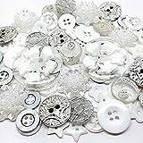 Roseys Craft Shop ICE WHITE 80 Button & Flatback Random Mix Embellisments Cardmaking Craft