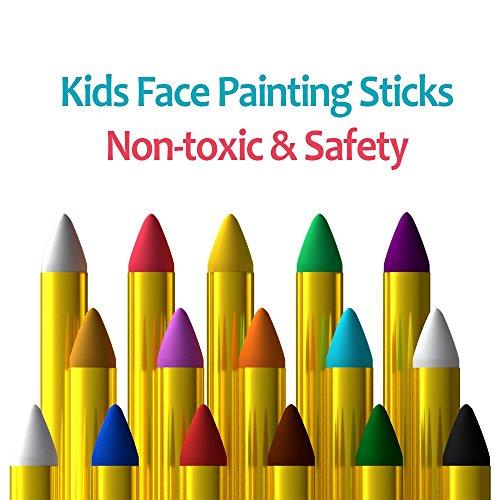 MiMoo 16 colores lápices de colores  pintura corporal no tóxica lápices de colores kit de lápices de colores para niños  niños pequeños  conjunto de 16