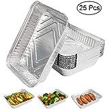 Expower Bandejas de aluminio, 25 bandejas de goteo de aluminio, perfectas para camping y uso al aire libre, asar, cocinar, hornear y almacenar alimentos – 9 x 7.08 x 1.77 pulgadas