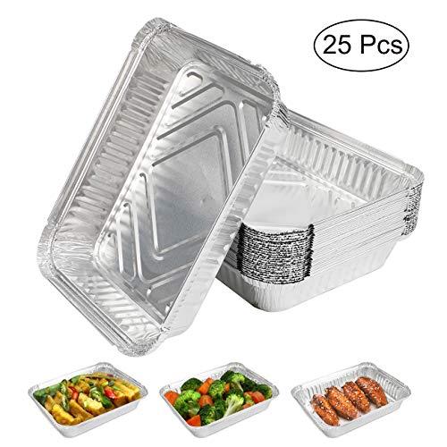 Expower Aluminium-Tabletten, 25 Stück, ideal für Camping und Außenbereich, Grillen, Kochen, Backen und Aufbewahren von Lebensmitteln – 22,9 x 18,8 x 4,4 cm
