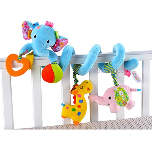 Baby Bucket Jolly Baby Discovery Activity Spiral Crib Bed Soft Musical Toy Infant Rattle Stroller/Pram(Blue Elephant)