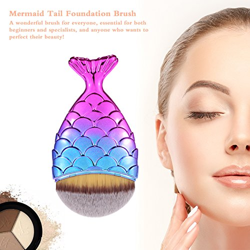 Anself Blush Brush Face Powder Brush Foundation Brush Mermaid Makeup Brush 1pc