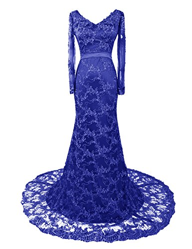 Dresstells, Robe de soirée Robe de mère de mariée en satin et dentelle traîne moyenne manches longues Bleu Saphir