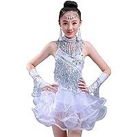 BOZEVON Abiti da Ballo Latino per Bambini Costumi di Danza Latina Ragazze  Paillettes di arricciata Gonna 05699c8a0d8