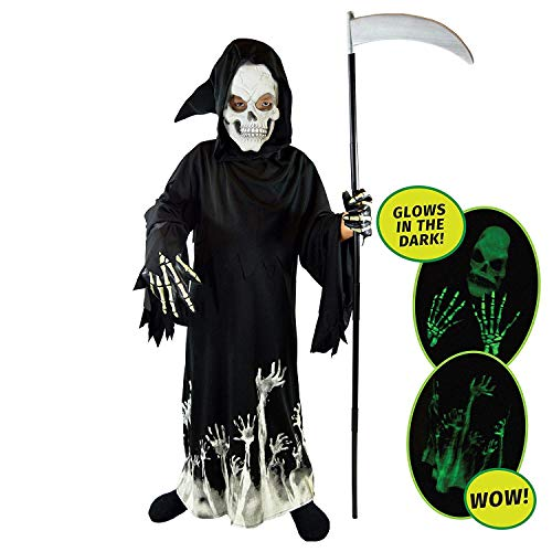 Spooktacular Creations unisex-child grim reaper glow in the dark deluxe phantom kostüm s (5-7) - Reaper Deluxe Kostüm