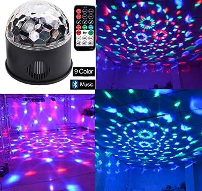 Bluetooth Disco Ball Light Wonsung 9-color Party Mirror Ball Projector Stage Lights Strobe Club lights Effect Mini Lights Magic Ball Dance Light