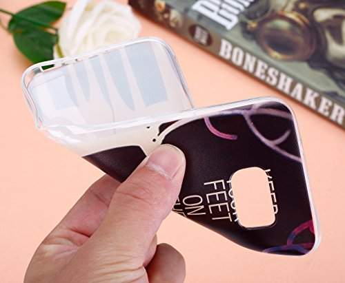 Galalxy S7 Soft Silicone Tpu Coque Mode,Transparent Coque pour Samsung Galalxy S7,Ekakashop Ultra Mince Jolie Bleu Campanula Design Souple imprimée Etui Housse de protection Cristal Clair Gel Case Pre Deux Cerfs