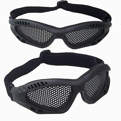 Aranticy Taktische militärische Metall Mesh Schutzbrillen Brillen 2Pack CS Schießen Jagd Gun Brille Outdoor Anti Fog Loch Gläser Airsoft Halbe Gesichtsmaske Hohle Auge Sicherheit Schutzbrille