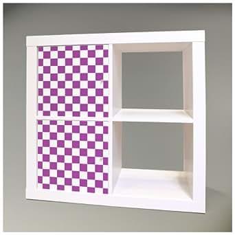 Möbelsticker für IKEA EXPEDIT (Kallax) Regal 32,6x67,8cm mit Motiv: Karo Lila