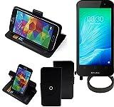 K-S-Trade® Hülle Schutzhülle Case für TP-LINK Neffos Y50 + Bumper Handyhülle Flipcase Smartphone Cover Handy Schutz Tasche Walletcase schwarz (1x)