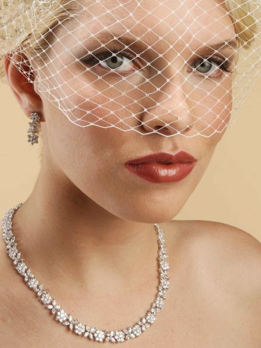 French Net Vintage Bridal Birdcage Visor Veil - White by Fairytale Bridal Tiara
